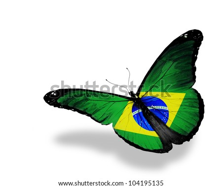 stock photo : Brazilian flag butterfly flying, isolated on white background