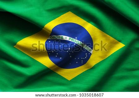 Brazilian flag fabric with waves