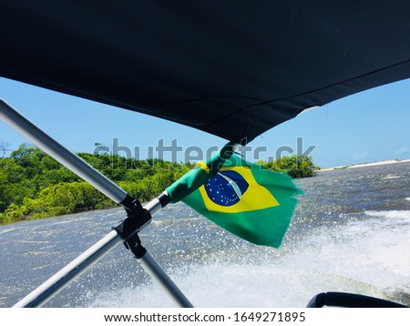 Brazilian flag from a boat