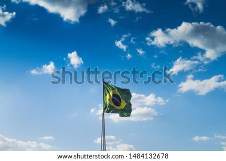 Brazilian flag in the wind