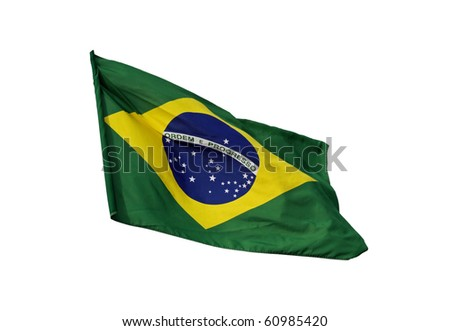 Brazilian flag, isolated on white background