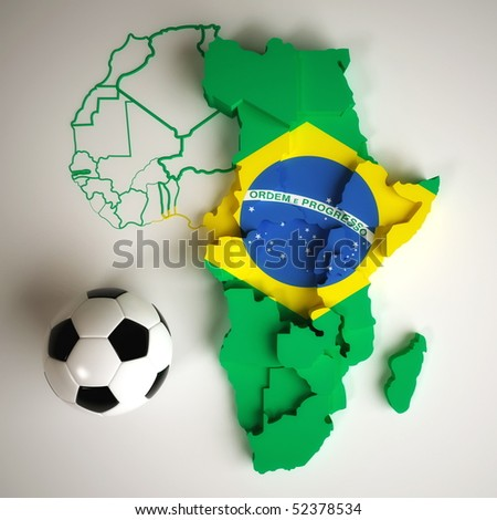 Brazilian flag on map of Africa with national borders