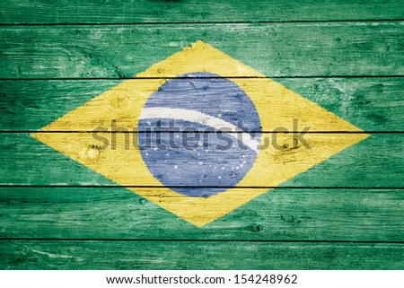 brazilian flag on wood texture background