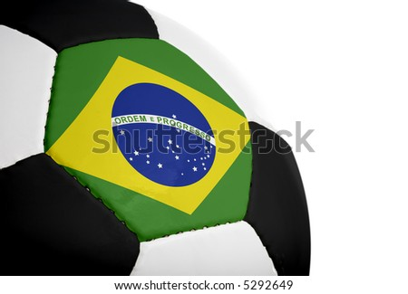 Brazilian flag painted/projected onto a football (soccer ball).  Isolated on a white background. - stock photo