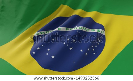 Brazilian flag waving in the wind.