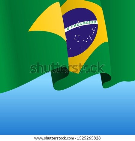 Brazilian flag wavy abstract background layout. Raster version.