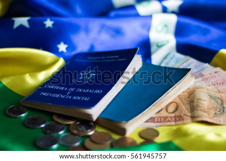 Brazilian flag with brazilian document work and social security