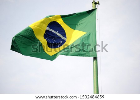 Brazilian Flag with gray sky