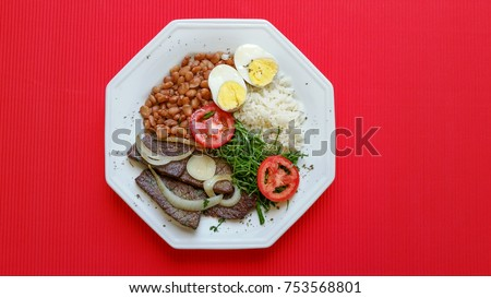 Brazilian food dish on red background #753568801