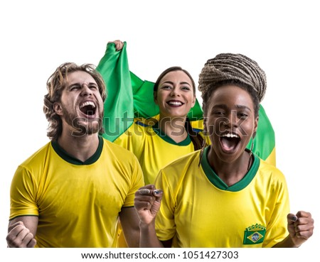 Brazilian friends fan celebrating - Shutterstock ID 1051427303