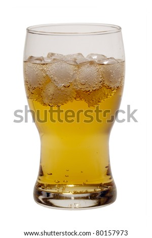 Brazilian gold guarana soft drink with ice cubes isolated on white background