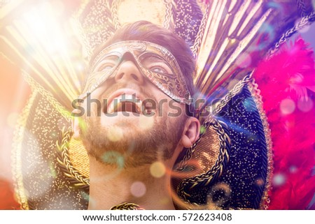 Brazilian guy wearing carnival costume #572623408