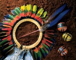 Brazilian Indian headdress, beatiful, colorful, over earth