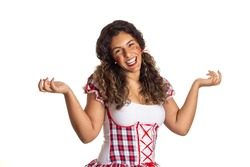 Brazilian June Party, typical celebration in Brazil. Cheerful black girl in traditional plaid clothes .