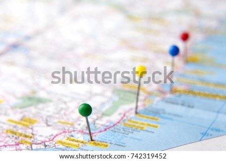 Brazilian Map close up. Cities from the coastal area pinned on the map of Brazil. Travel and vacation plans concepts. Selective focus. #742319452
