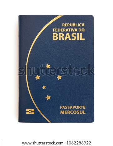 Brazilian passport on white background. Important document for trips abroad.