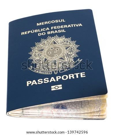brazilian passport over a white surface, isolated