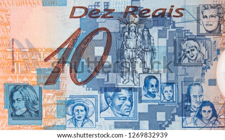 Brazilian people on Brazilian 10 real (2000) banknote. Brazil money currency close up.