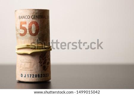 Brazilian real notes. Brazilian currency. Real. Brazilian money. Money from Brazil