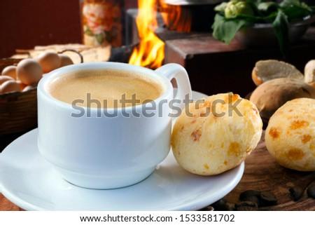 Brazilian snack cheese bread, pao de queijo, Brazilian  cup of coffee #1533581702