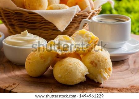 Brazilian snack cheese bread stuffed with catupiry