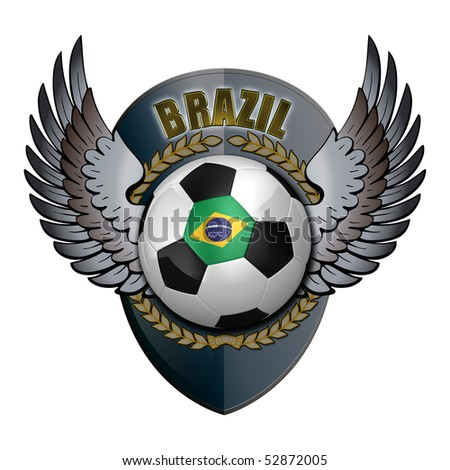Brazilian soccer ball with crest over white background - stock photo