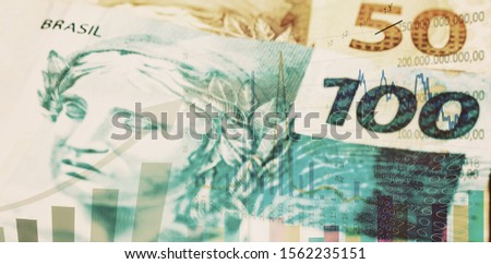 brazilian stock exchange, brazil real rising, quotation of brazilian real in the market. Brazilian economy and finance concept