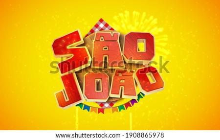 Brazilian Traditional Celebration Festa Junina, Festa de Sao Joao. Festive Typographic Promotional Foto stock ©
