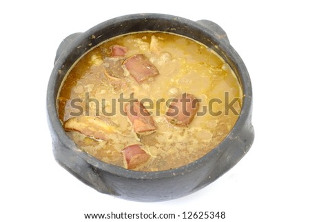 Brazilian Typical Food Feijoada In A Mud Pot. Stock Photo 12625348 ...