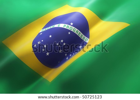 Brazilian waving flag (3d illustration)