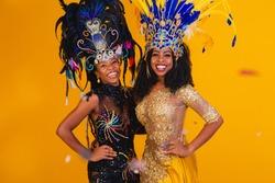 Brazilian women posing in carnival costume.