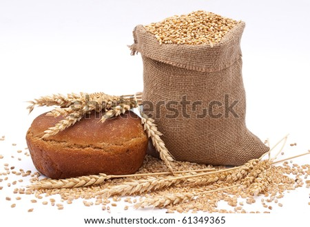 Bread  a bag with wheat and ear