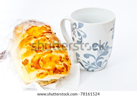 bread and a cup of coffee.