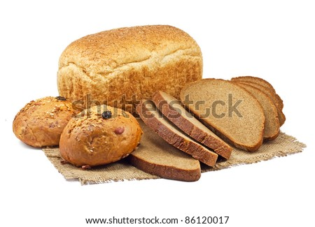 bread and bakery products isolated on white background