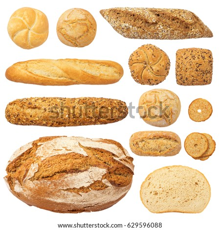 Bread and Bakery Products Isolated on White. Different types of bread: sesame bun, baguette, baked rolls, rustic bread, round bun, sesame bun.
