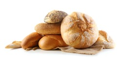 Bread and ears on napkin isolated on white