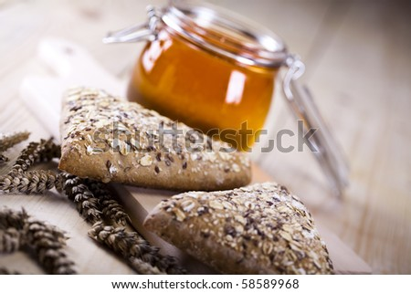 Bread and honey background - stock photo