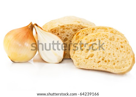 Bread and onion. Sliced wheat bread with onion for sandwich on white