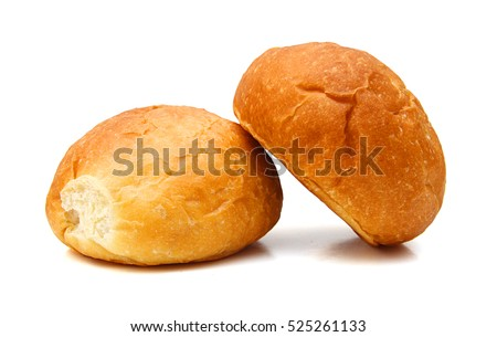 Bread and rolls isolated on white