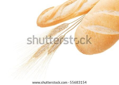 Bread and wheat isolated on a white background