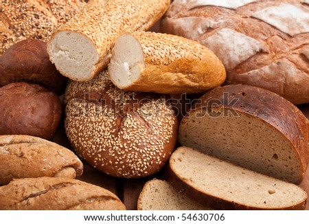 bread assortment background - stock photo