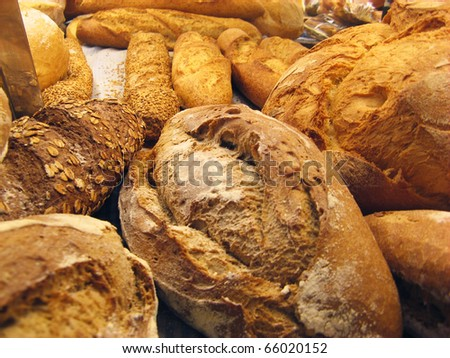 Bread baguettes and buns still life