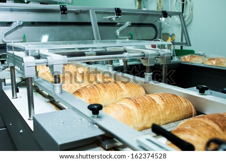 Bread bakery, factory with fresh food
