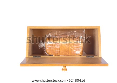 Bread box with loaf of bread isolated on white