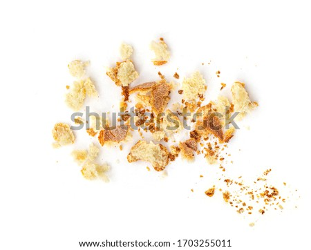 Bread crumbs isolated on white background.  Top view Stockfoto ©