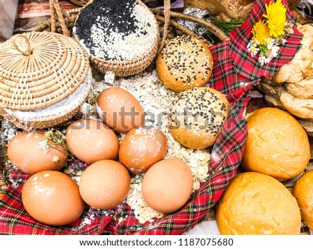 Bread, egg Tableware, tableware, and red tablecloth #1187075680