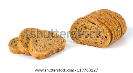 Bread from rye and wheat flour isolated on white