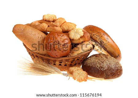 Bread in a basket, isolated on white background