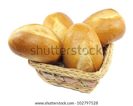 Bread in basket on a white background