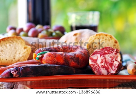 Bread, meat of pork and portuguese wine